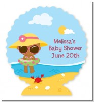 Beach Baby African American Girl - Personalized Baby Shower Centerpiece Stand