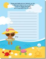 Beach Baby African American Girl - Baby Shower Notes of Advice