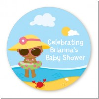 Beach Baby African American Girl - Personalized Baby Shower Table Confetti