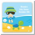 Beach Baby Boy - Square Personalized Baby Shower Sticker Labels thumbnail