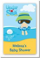 Beach Baby Boy - Custom Large Rectangle Baby Shower Sticker/Labels