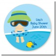 Beach Baby Boy - Round Personalized Baby Shower Sticker Labels thumbnail
