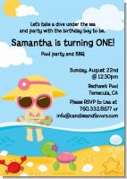 Beach Girl - Birthday Party Invitations