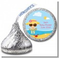 Beach Baby Girl - Hershey Kiss Baby Shower Sticker Labels thumbnail