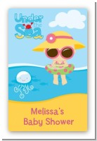 Beach Baby Girl - Custom Large Rectangle Baby Shower Sticker/Labels