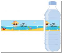 Beach Baby Girl - Personalized Baby Shower Water Bottle Labels