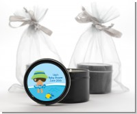 Beach Baby Hispanic Boy - Baby Shower Black Candle Tin Favors