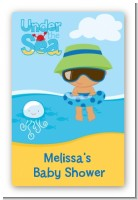 Beach Baby Hispanic Boy - Custom Large Rectangle Baby Shower Sticker/Labels