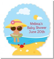 Beach Baby Hispanic Girl - Personalized Baby Shower Centerpiece Stand