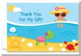 Beach Baby Hispanic Girl - Baby Shower Thank You Cards