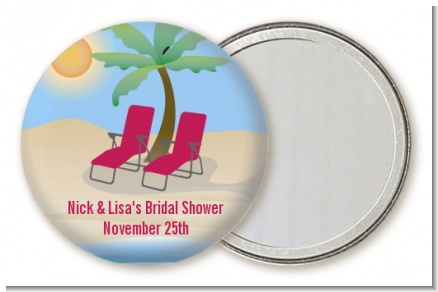 Beach Chairs - Personalized Bridal Shower Pocket Mirror Favors