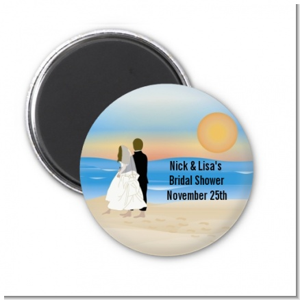 Beach Couple - Personalized Bridal Shower Magnet Favors