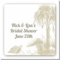 Beach Scene - Square Personalized Bridal Shower Sticker Labels