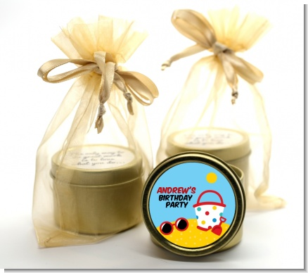Beach Toys - Birthday Party Gold Tin Candle Favors