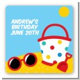 Beach Toys - Square Personalized Birthday Party Sticker Labels thumbnail