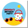 Beach Toys - Round Personalized Birthday Party Sticker Labels thumbnail