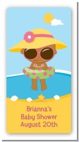 Beach Baby African American Girl - Custom Rectangle Baby Shower Sticker/Labels