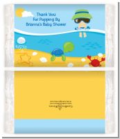 Beach Baby Asian Boy - Personalized Popcorn Wrapper Baby Shower Favors