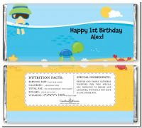 Beach Boy - Personalized Birthday Party Candy Bar Wrappers