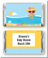 Beach Baby Girl - Personalized Baby Shower Mini Candy Bar Wrappers