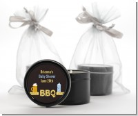 Beer and Baby Talk - Baby Shower Black Candle Tin Favors
