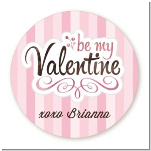 Be My Valentine - Round Personalized Valentines Day Sticker Labels
