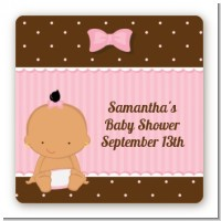 Baby Girl Hispanic - Square Personalized Baby Shower Sticker Labels