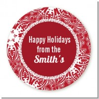 Big Red Snowflake - Round Personalized Christmas Sticker Labels