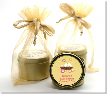 Bird's Nest - Baby Shower Gold Tin Candle Favors