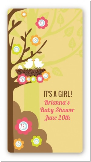 Bird's Nest - Custom Rectangle Baby Shower Sticker/Labels