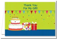 Birthday Cake - Birthday Party Thank You Cards