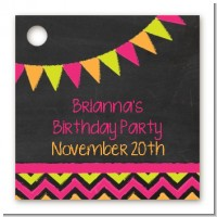 Birthday Girl Chalk Inspired - Personalized Birthday Party Card Stock Favor Tags
