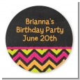 Birthday Girl Chalk Inspired - Round Personalized Birthday Party Sticker Labels thumbnail