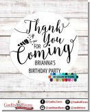 Thank You For Coming - Round Personalized Birthday Party Sticker Labels