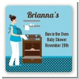 Bun in the Oven Boy - Square Personalized Baby Shower Sticker Labels thumbnail
