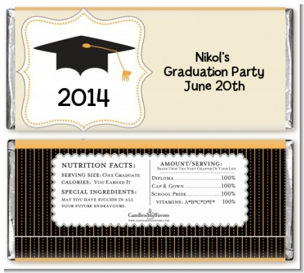 Black & Gold - Personalized Graduation Party Candy Bar Wrappers