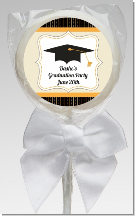 Black & Gold - Personalized Graduation Party Lollipop Favors