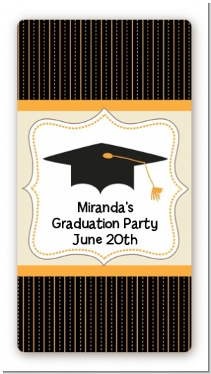 Black & Gold - Custom Rectangle Graduation Party Sticker/Labels