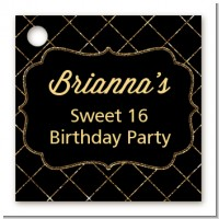 Black and Gold Glitter - Personalized Birthday Party Card Stock Favor Tags