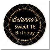 Black and Gold Glitter - Round Personalized Birthday Party Sticker Labels
