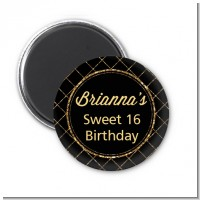 Black and Gold Glitter - Personalized Birthday Party Magnet Favors