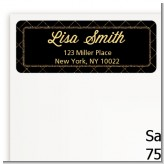 Black and Gold Glitter - Birthday Party Return Address Labels
