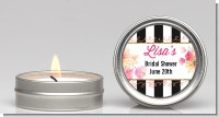 Black And White Stripe Floral Watercolor - Bridal Shower Candle Favors
