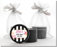 Black And White Stripe Floral Watercolor - Bridal Shower Black Candle Tin Favors