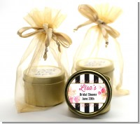 Black And White Stripe Floral Watercolor - Bridal Shower Gold Tin Candle Favors
