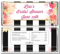 Black and White Stripe Floral Watercolor - Personalized Bridal Shower Candy Bar Wrappers