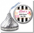 Black And White Stripe Floral Watercolor - Hershey Kiss Bridal Shower Sticker Labels thumbnail