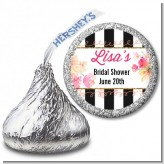 Black And White Stripe Floral Watercolor - Hershey Kiss Bridal Shower Sticker Labels
