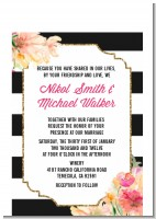 Black And White Stripe Floral Watercolor - Bridal Shower Petite Invitations