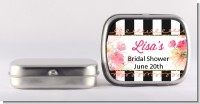 Black And White Stripe Floral Watercolor - Personalized Bridal Shower Mint Tins